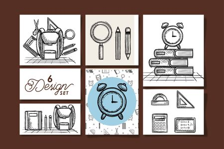 six designs drawn of school education supplies vector illustration design