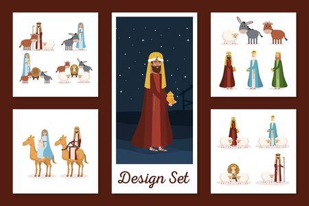 designs set of manger characters vector illustration design Illustration
