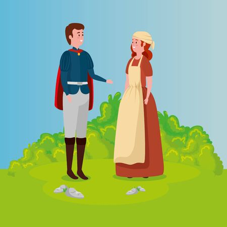 cinderella with prince in scene fairytale vector illustration design 向量圖像