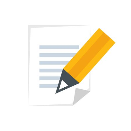document with pencil isolated icon vector illustration design