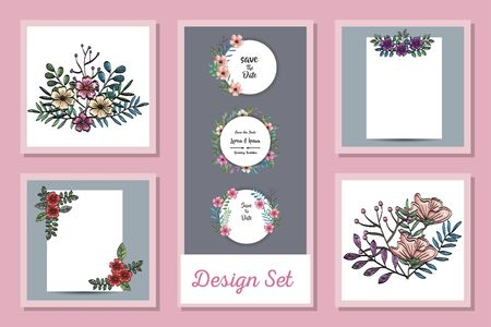 designs set of cards with decoration flowers and leafs vector illustration design