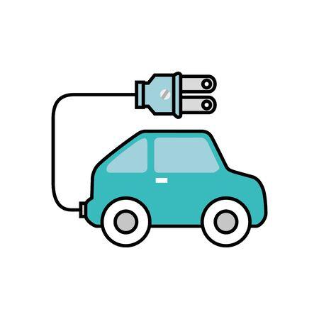 friendly car with plug ecology icon vector illustration design Ilustração