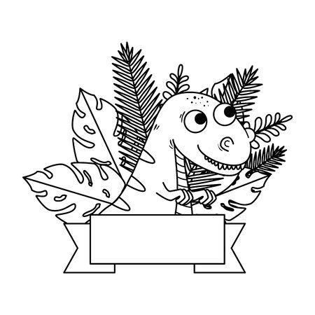 cute tyrannosaurus rex with exotic leafs frame vector illustration design Ilustração