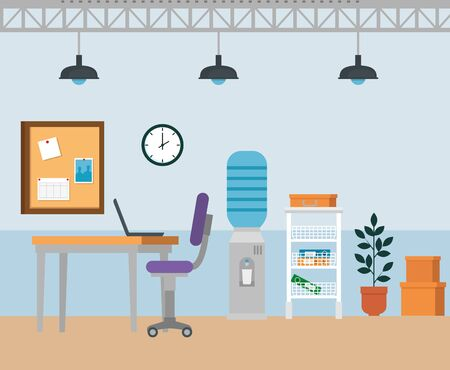 laptop in the desk with chair and water purifier with clock to business office, vector illustration