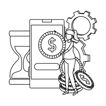 young woman with smartphone and coins ecommerce icons vector illustration Illustration