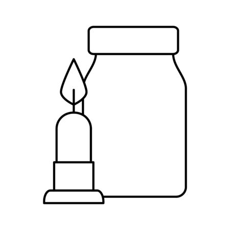 candle light with bottle decoration isolated icon vector illustration design  イラスト・ベクター素材