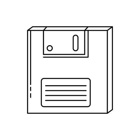 Diskette der Neunziger Jahre Retro-Linie Stil Symbol Vektor Illustration Design