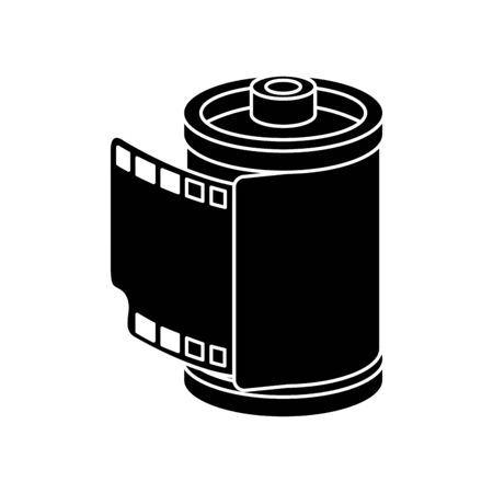silhouette of roll camera nineties retro isolated icon vector illustration design