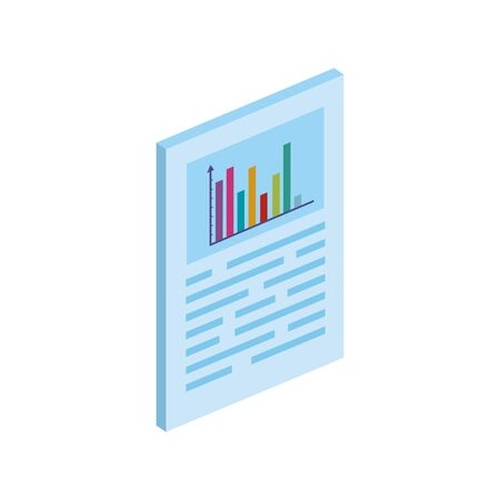 document with bars statistical graph isolated icon vector illustration design