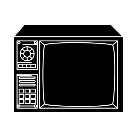 silhouette of tv of nineties retro style vector illustration design 向量圖像