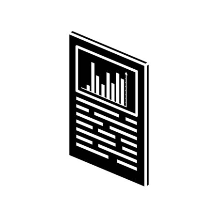 silhouette of document with bars statistical graph isolated icon vector illustration design