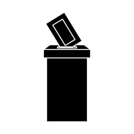 silhouette of ballot box with vote form vector illustration design  イラスト・ベクター素材