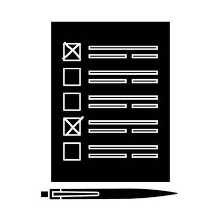 Silhouette des Abstimmungsformulars mit Stift isoliert Symbol Vektor Illustration Design