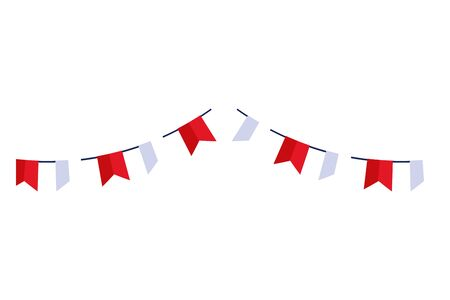 garlands hanging red and white color isolated icon vector illustration design Vectores