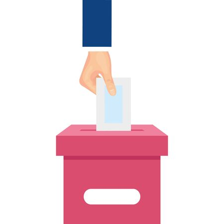 hand with ballot box isolated icon vector illustration design