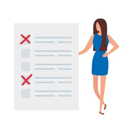 Geschäftsfrau mit Abstimmungsformular isoliert Symbol Vektor Illustration Design