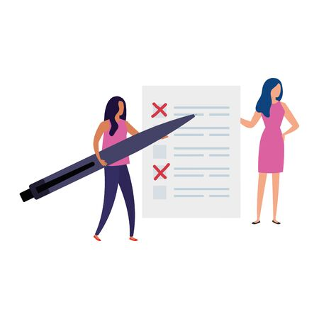 business women with vote form and pen vector illustration design