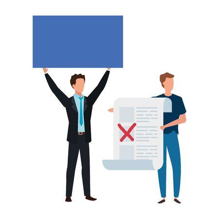 Männer mit Abstimmungsformular isoliert Symbol Vektor Illustration Design Vektorgrafik