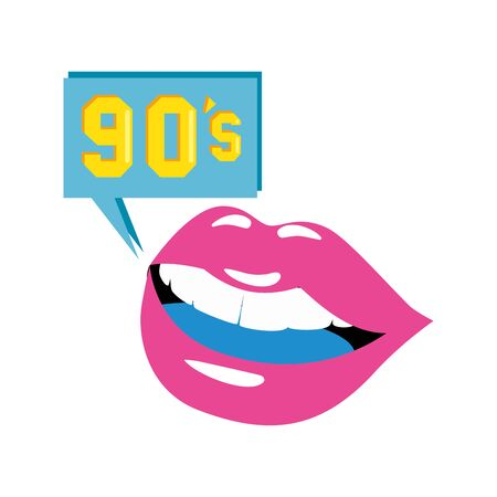 lips with nineties sign in speech bubble vector illustration design Иллюстрация