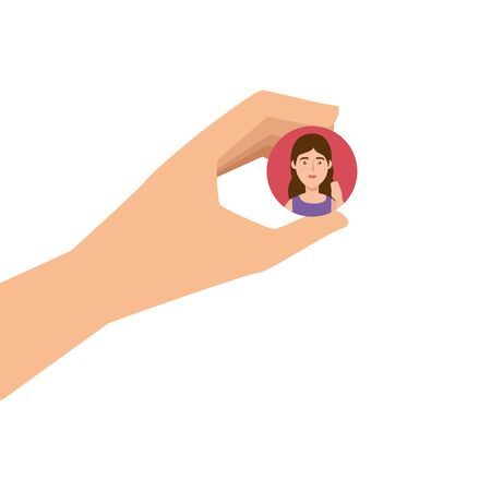 hand and button with face woman isolated icon vector illustration design  イラスト・ベクター素材