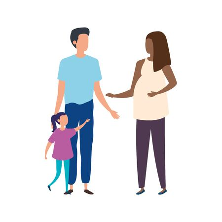 parents with daughter avatar characters vector illustration design Archivio Fotografico - 137444244