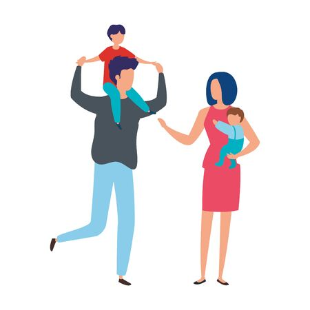 parents with sons avatar characters vector illustration design Archivio Fotografico - 137445542