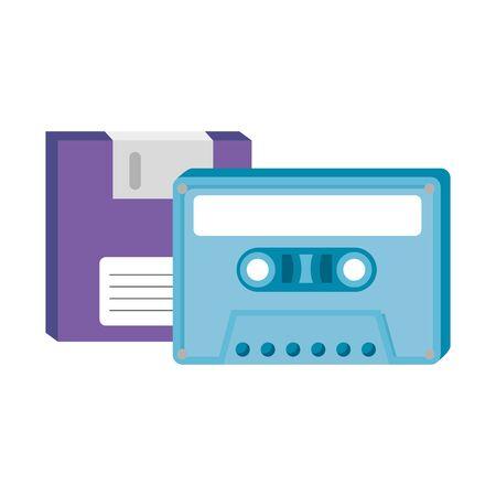 floppy with cassette of nineties retro style vector illustration design 向量圖像