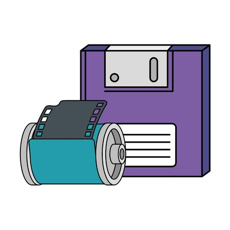 floppy with roll camera nineties retro style isolated icon vector illustration design