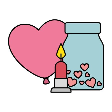 candle light and bottle with hearts isolated icon vector illustration design
