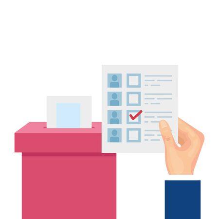 hand with ballot box carton isolated icon vector illustration design