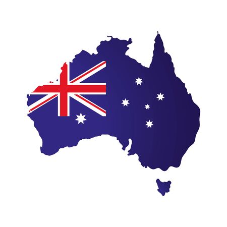 map of australia with flag isolated icon vector illustration design