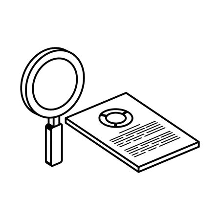 document with circular statistical and magnifying glass vector illustration design