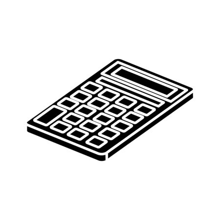 Silueta de calculadora matemática finanzas icono aislado diseño ilustración vectorial