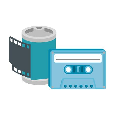roll camera of nineties with cassette isolated icon vector illustration design  イラスト・ベクター素材