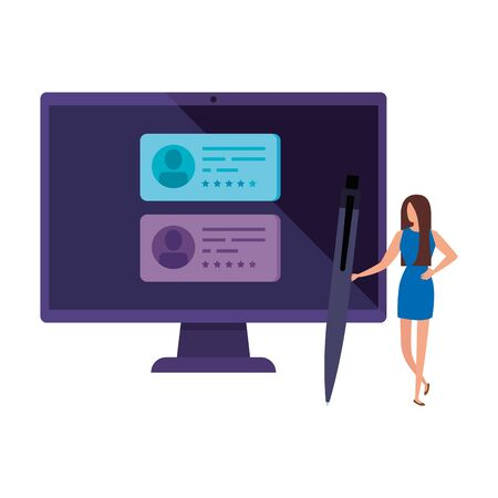 businesswoman with computer for vote online vector illustration design