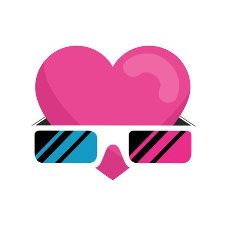 glasses of nineties with heart isolated icon vector illustration design