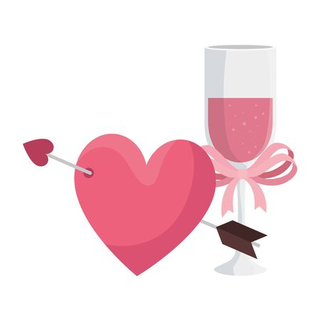 cup champagne and heart with arrow vector illustration design