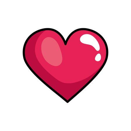 cuore amore stile pop art icona illustrazione vettoriale design Vettoriali