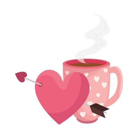 cup coffee and heart with arrow isolated icon vector illustration design