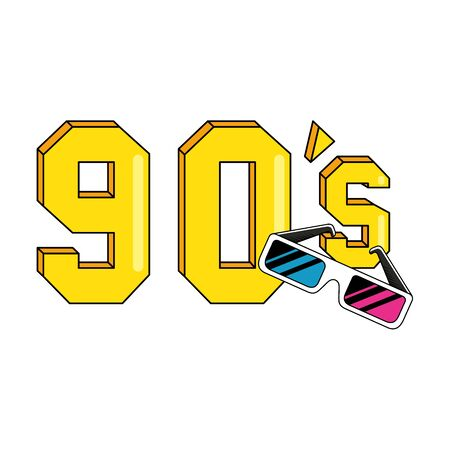 nineties sign with glasses retro style isolated icon vector illustration design Иллюстрация