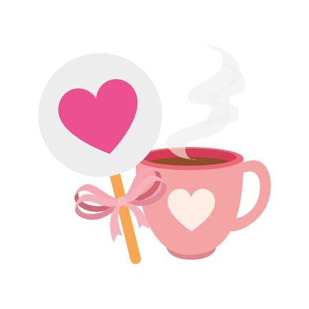 cup coffee and decoration with heart isolated icon vector illustration design Ilustração