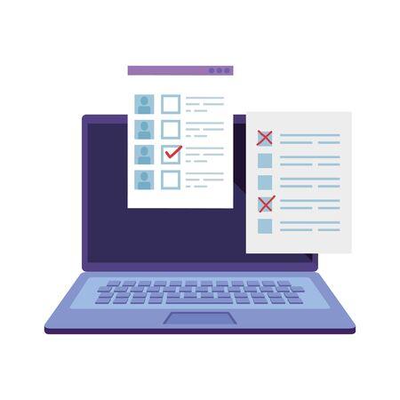 Ordinateur portable pour voter en ligne icône de style de ligne conception d'illustration vectorielle Vecteurs