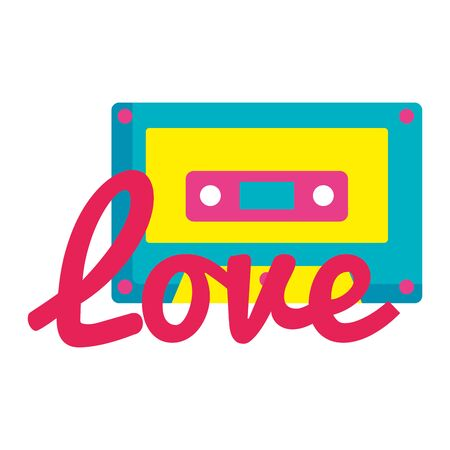 cassette music with love lettering pop art style icon vector illustration design