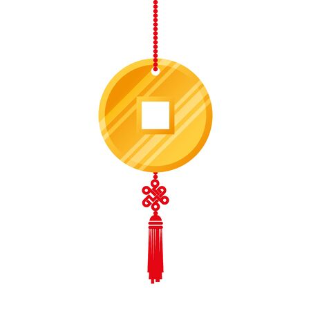 golden coin feng shui hanging isolated icon vector illustration design