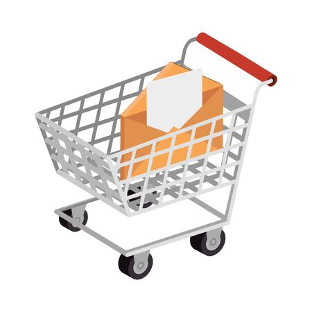 envelope mail with cart shopping isolated icon vector illustration design