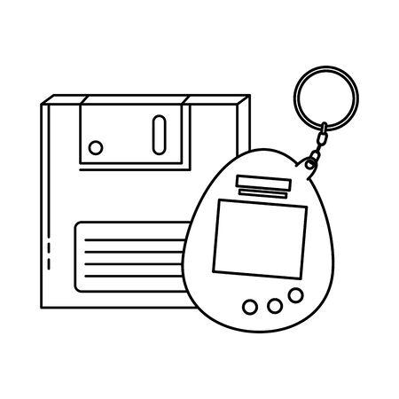 Diskette mit Videospiel-Maskottchen der neunziger Jahre Retro-Stil-Vektor-Illustration-Design