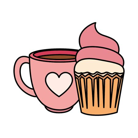 delicious cupcake with cup coffee isolated icon vector illustration design