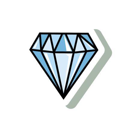 diamant précieux style pop art icône illustration vectorielle design