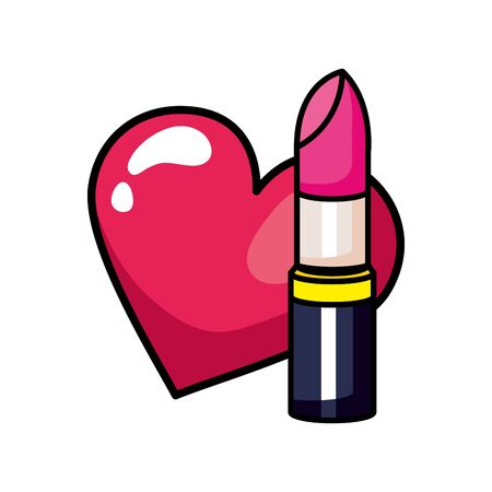 lipstick with heart pop art style icon vector illustration design