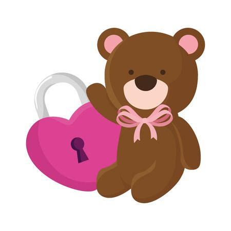 cute teddy bear with padlock isolated icon vector illustration design Çizim